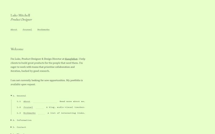 Screenshot of Luke Mitchell website
