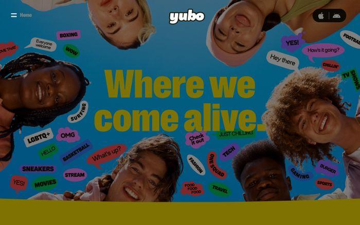 Screenshot of Yubo website