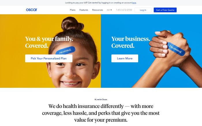 Screenshot of Oscar | A new kind of health insurance company