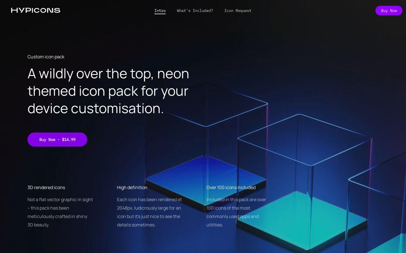 Screenshot of Hypicons website