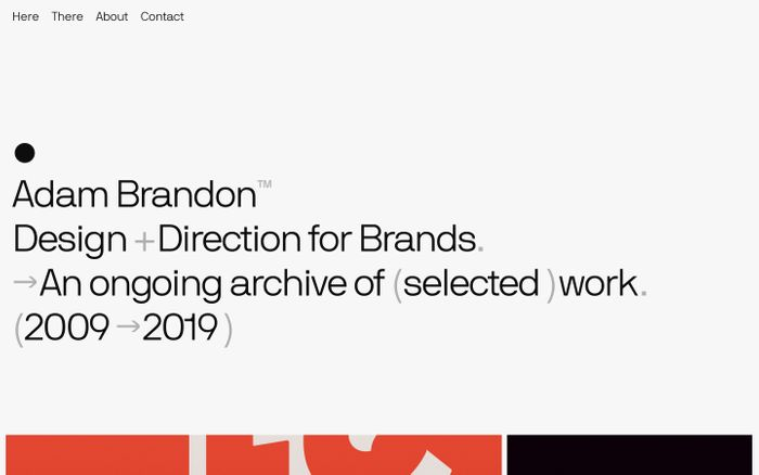 Screenshot of Adam Brandon — Design + Direction for Brands.