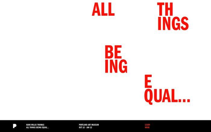 Screenshot of Hank Willis Thomas: All Things Being Equal... | Portland Art Museum | Oct 12 - Jan 12