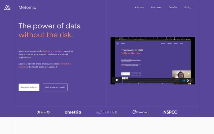 Screenshot of Metomic: The power of data without the risk. website