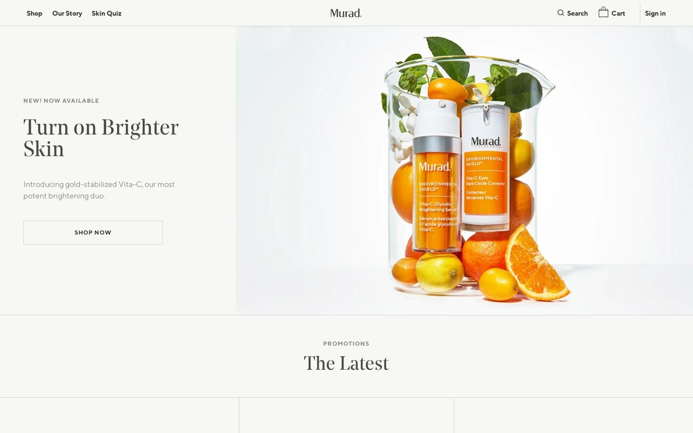 Screenshot of Murad website