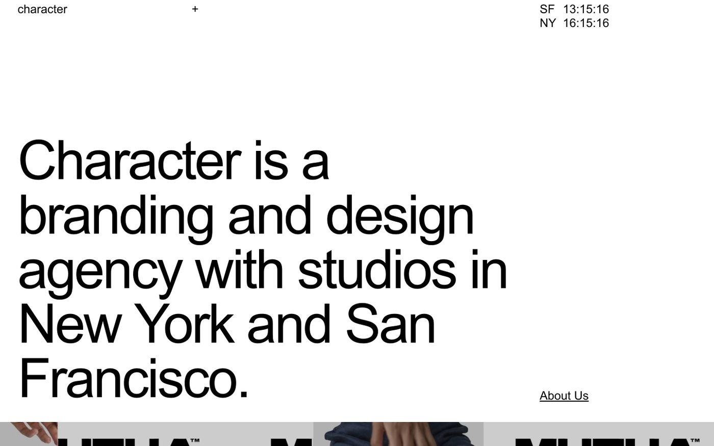 Screenshot of Character website