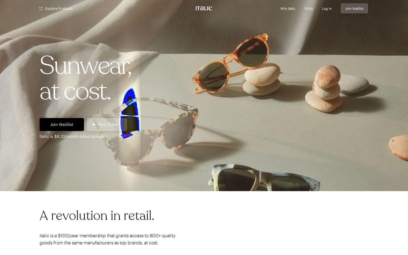 Screenshot of Italic website