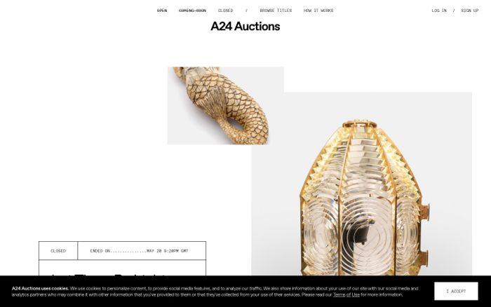 Screenshot of A24 Auctions