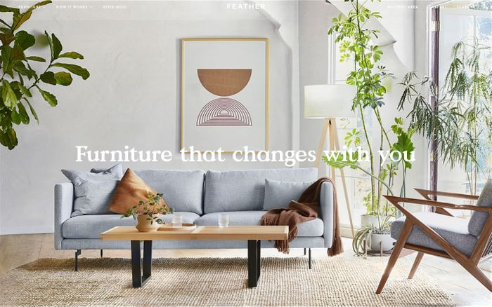 Screenshot of Feather | Furniture subscription service with flexible options