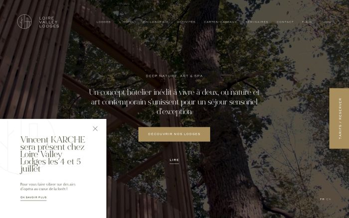 Screenshot of Loire Valley Lodges website