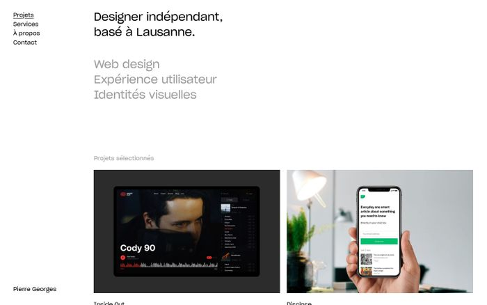 Screenshot of Pierre Georges / Designer indépendant