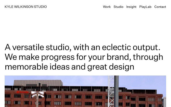 Screenshot of Kyle Wilkinson studio website