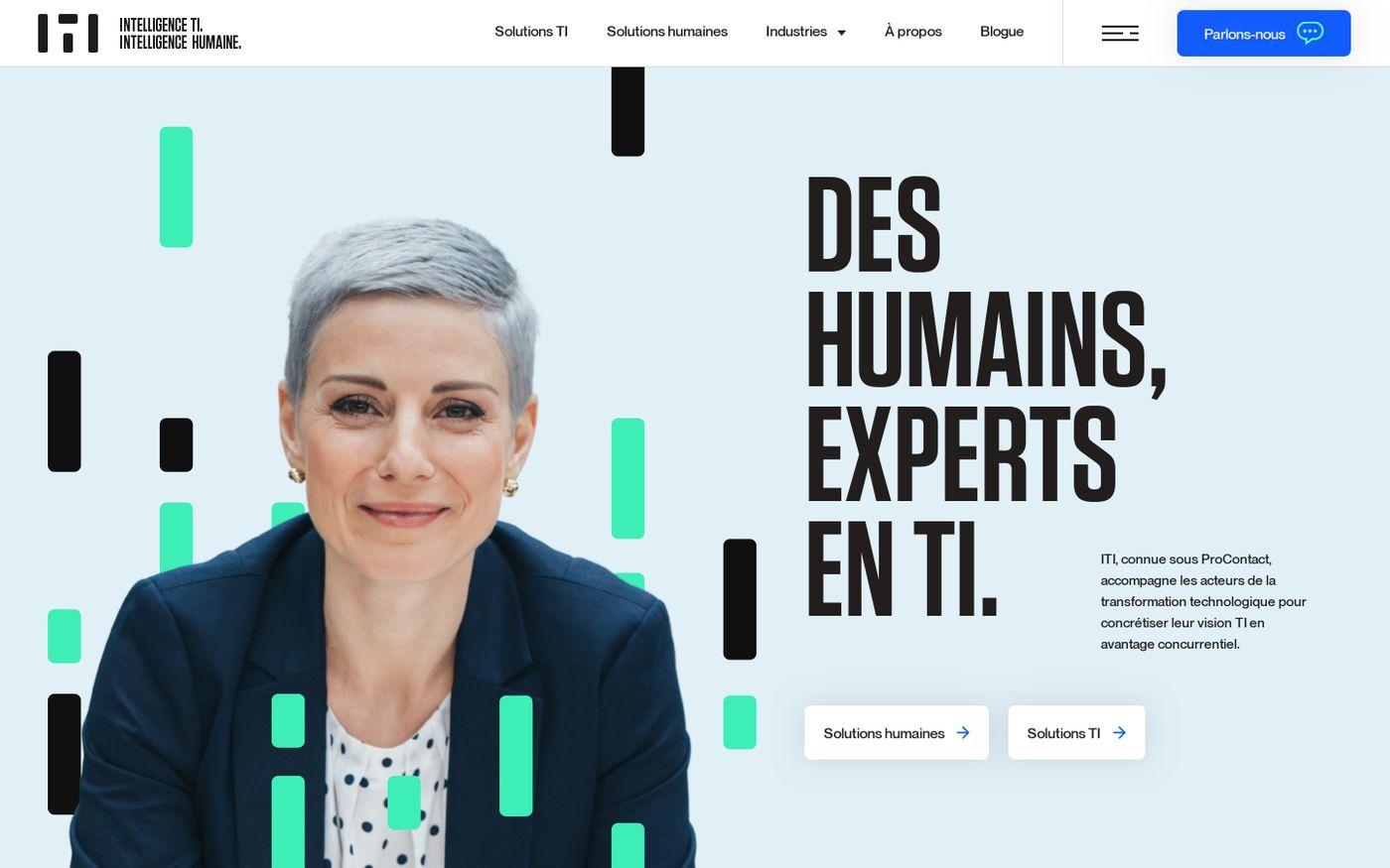 Screenshot of Vos experts en technologies de l'information – ITI website