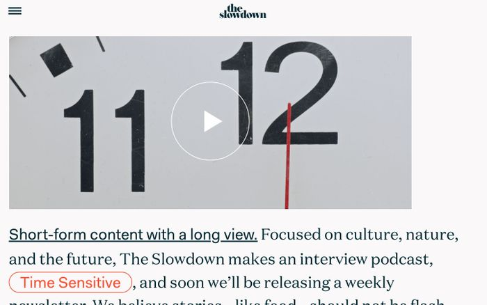 Screenshot of The Slowdown : Culture. Nature. Future.