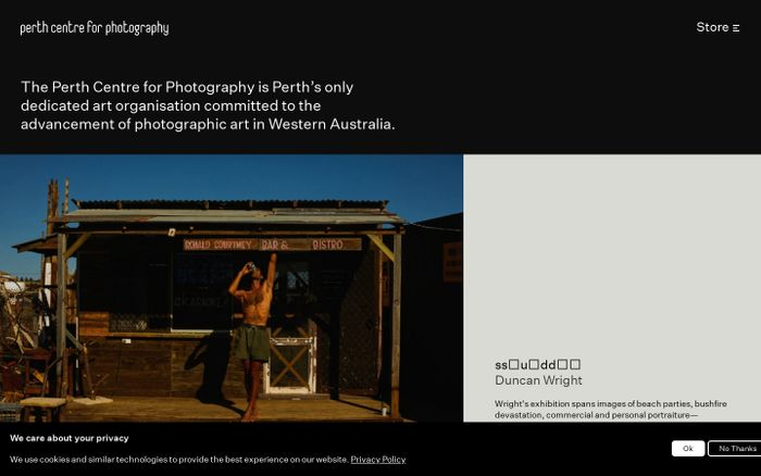 Screenshot of Perth centre for photography