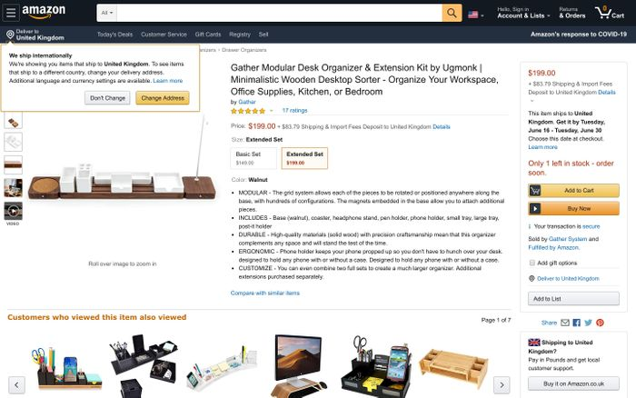 Screenshot of Amazon.com: Gather Modular Desk Organizer & Extension Kit by Ugmonk | Minimalistic Wooden Desktop Sorter - Organize Your Workspace, Office Supplies, Kitchen, or Bedroom: Office Products
