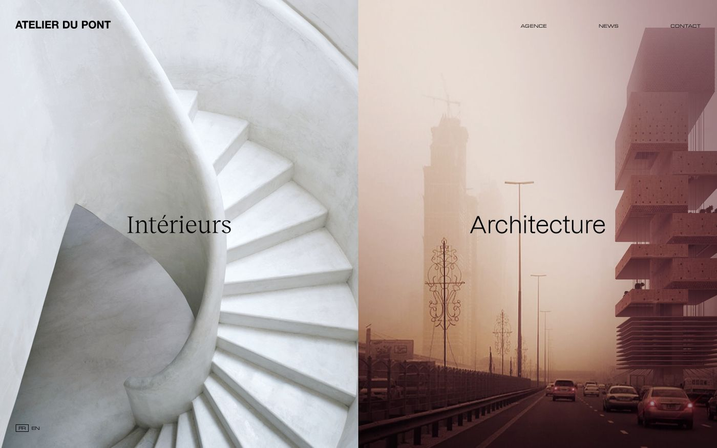 Screenshot of Atelier du Pont website