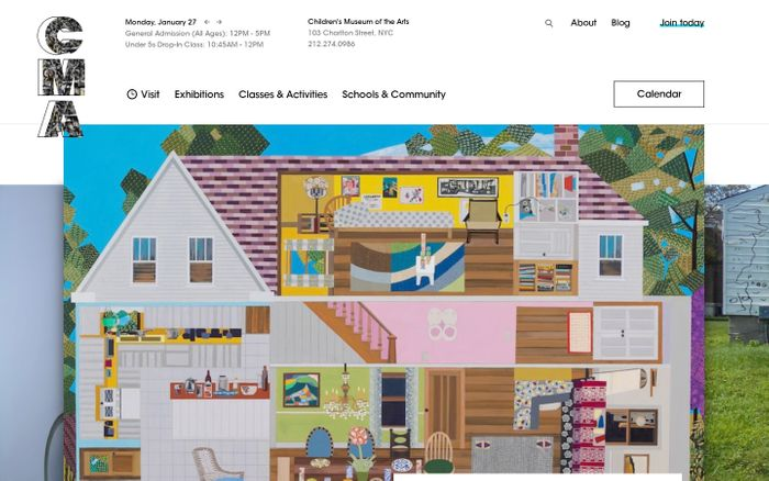 Screenshot of Children's Museum of the Arts New York website