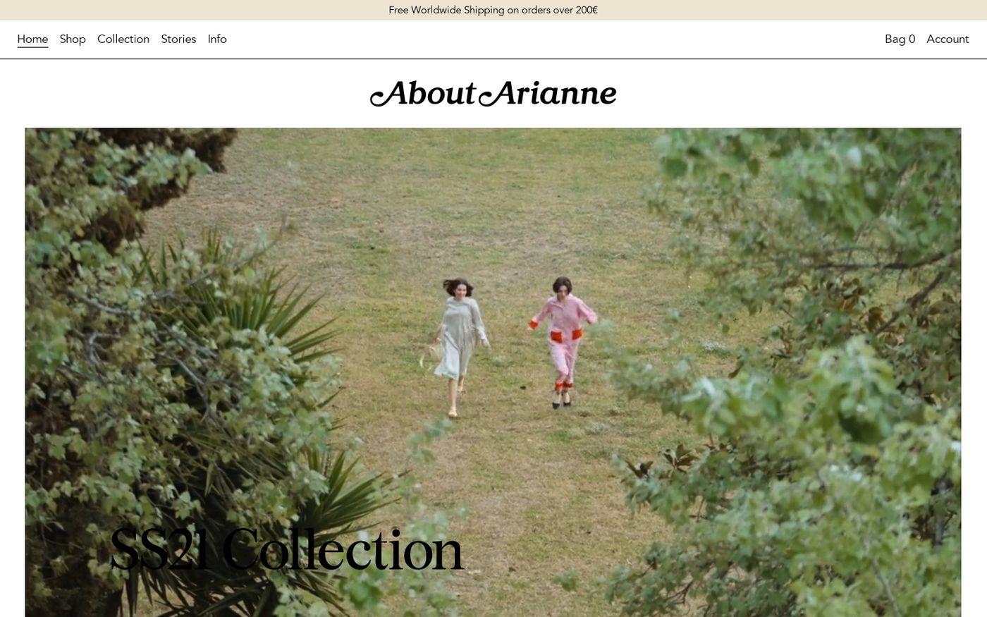 Screenshot of About Arianne website