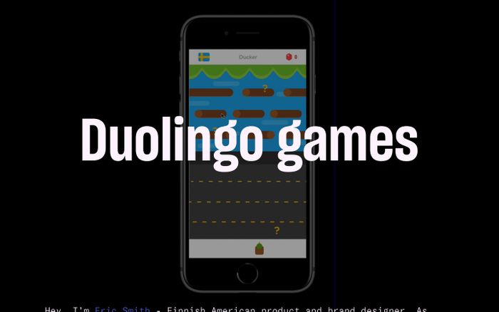 Screenshot of Duolingo games by Eric Smith