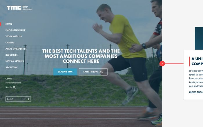 Screenshot of TMC - The best tech talents and the most ambitious companies connect here