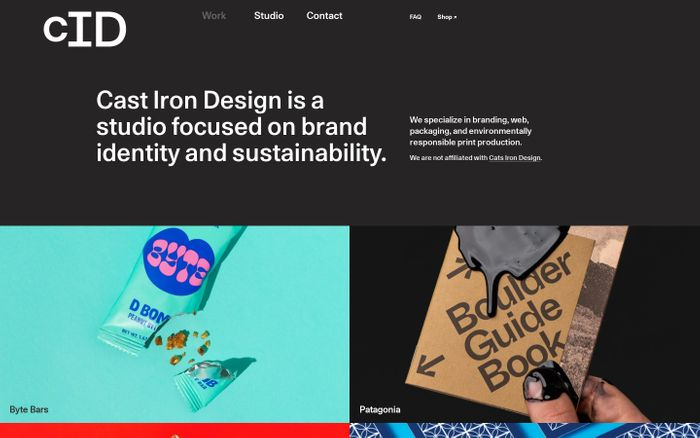 Screenshot of Cast Iron Design → Sustainable Graphic Design & Branding | Boulder • Denver • Colorado