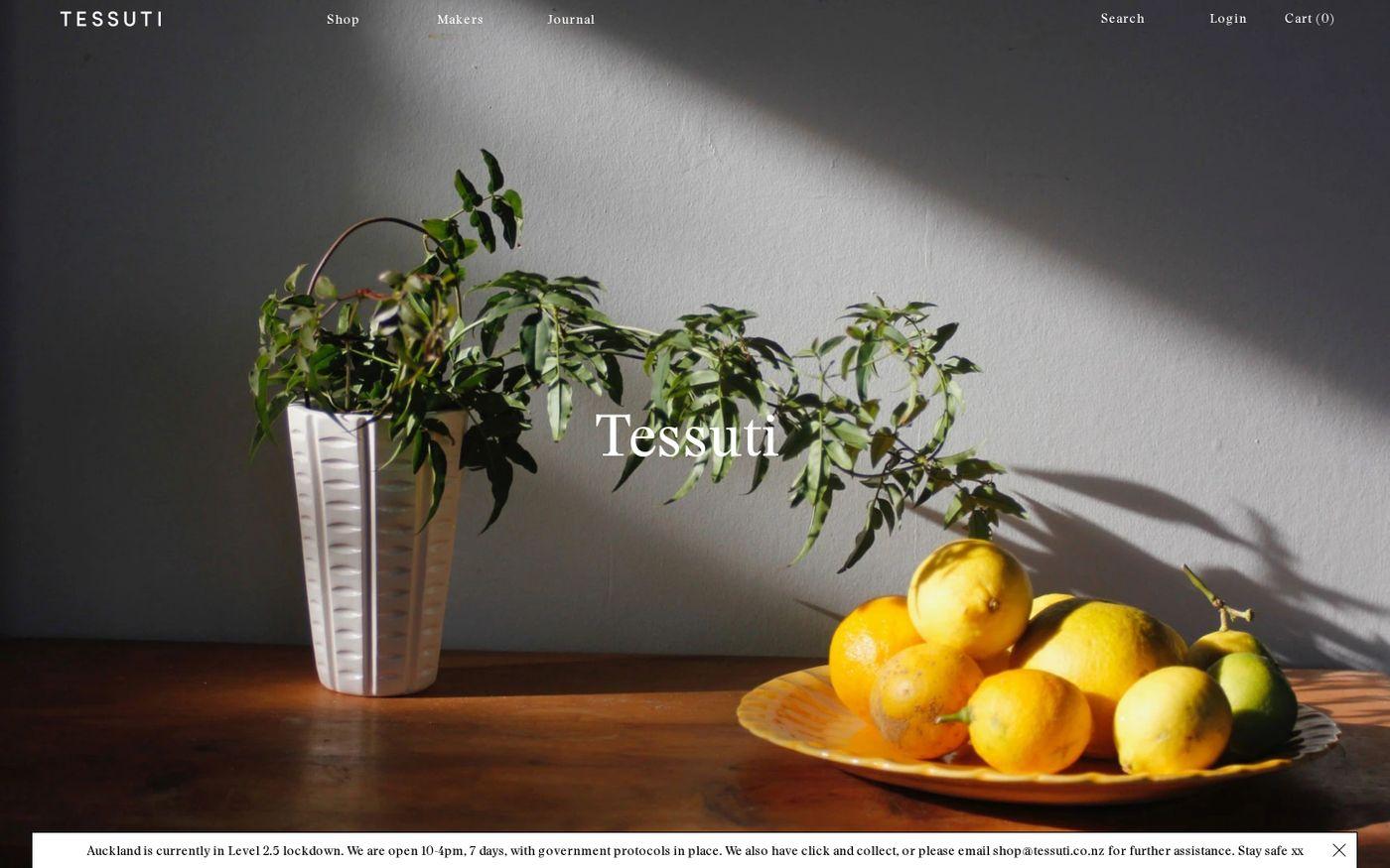 Screenshot of Tessuti website