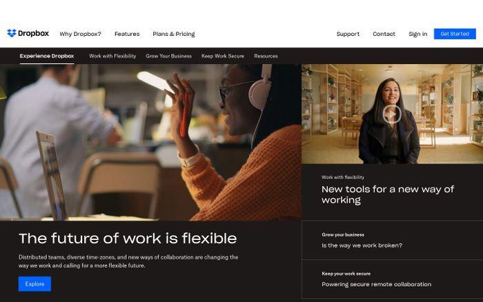 Screenshot of Experience Dropbox website