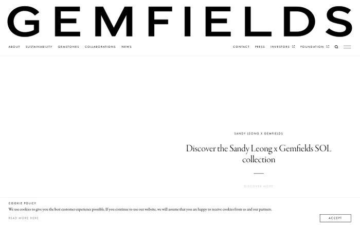 Screenshot of Gemfields website