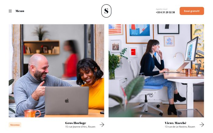 Screenshot of Coworking, espaces de bureaux et salles de réunions à Rouen