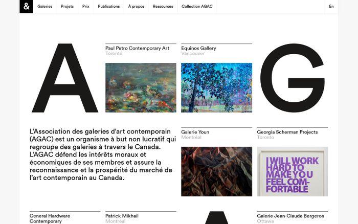 Screenshot of Association des galeries d'art contemporain