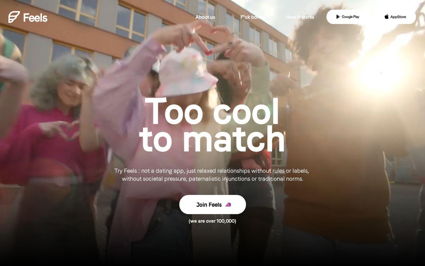 Screenshot of Feels website