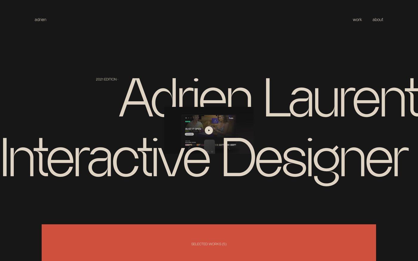 Screenshot of Home — Adrien Laurent website