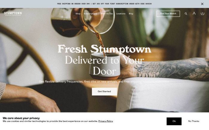 Screenshot of Stumptown Coffee website