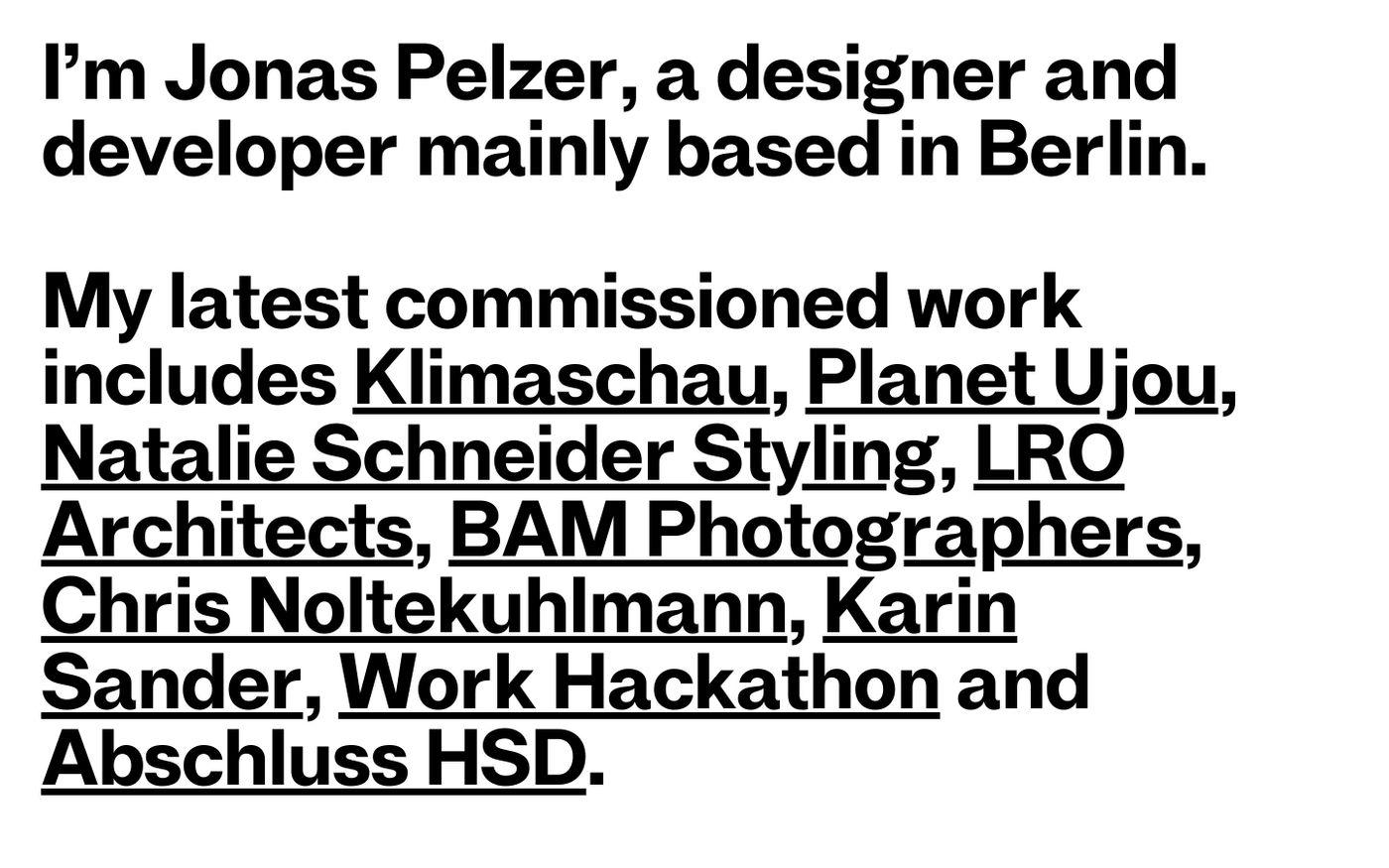 Screenshot of Jonas Pelzer website