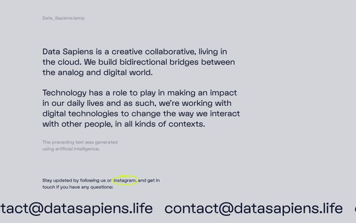 Screenshot of Data Sapiens – A creative collaborative, living in the cloud.