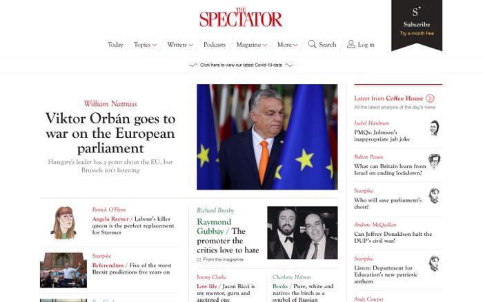 Screenshot of The Spectator website