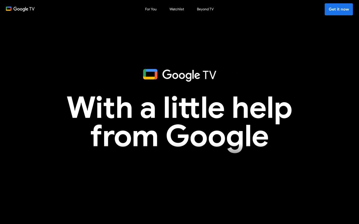 Screenshot of Google TV website