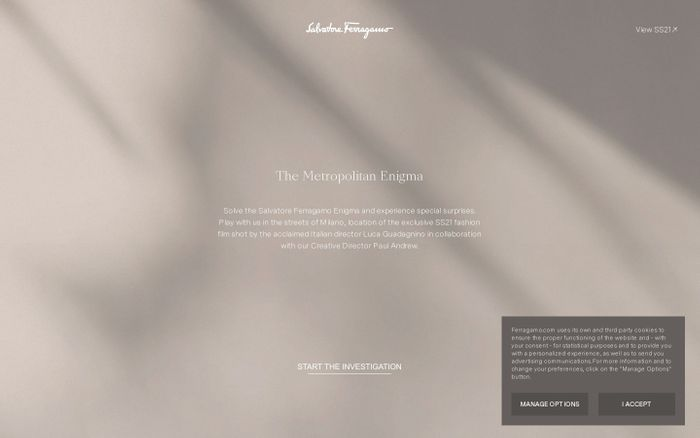 Screenshot of The Metropolitan Enigma by Salvatore Ferragamo website