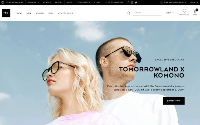 Screenshot of TML by Tomorrowland - Official Tomorrowland Fashion & Merchandise – TML Webstore