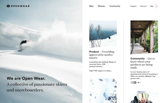 Screenshot of Open Wear: Sustainable Outerwear. Made affordable.