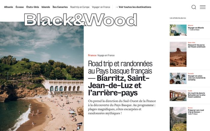 Screenshot of Black and Wood | Journal de voyage et d'aventure