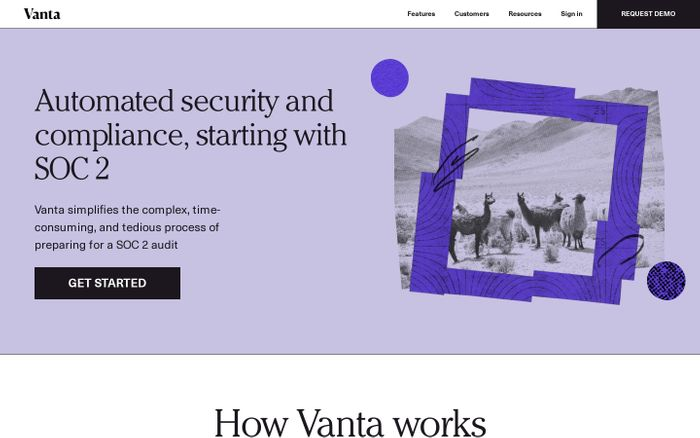 Screenshot of Vanta website