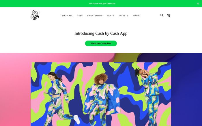 Screenshot of Cash app shop website