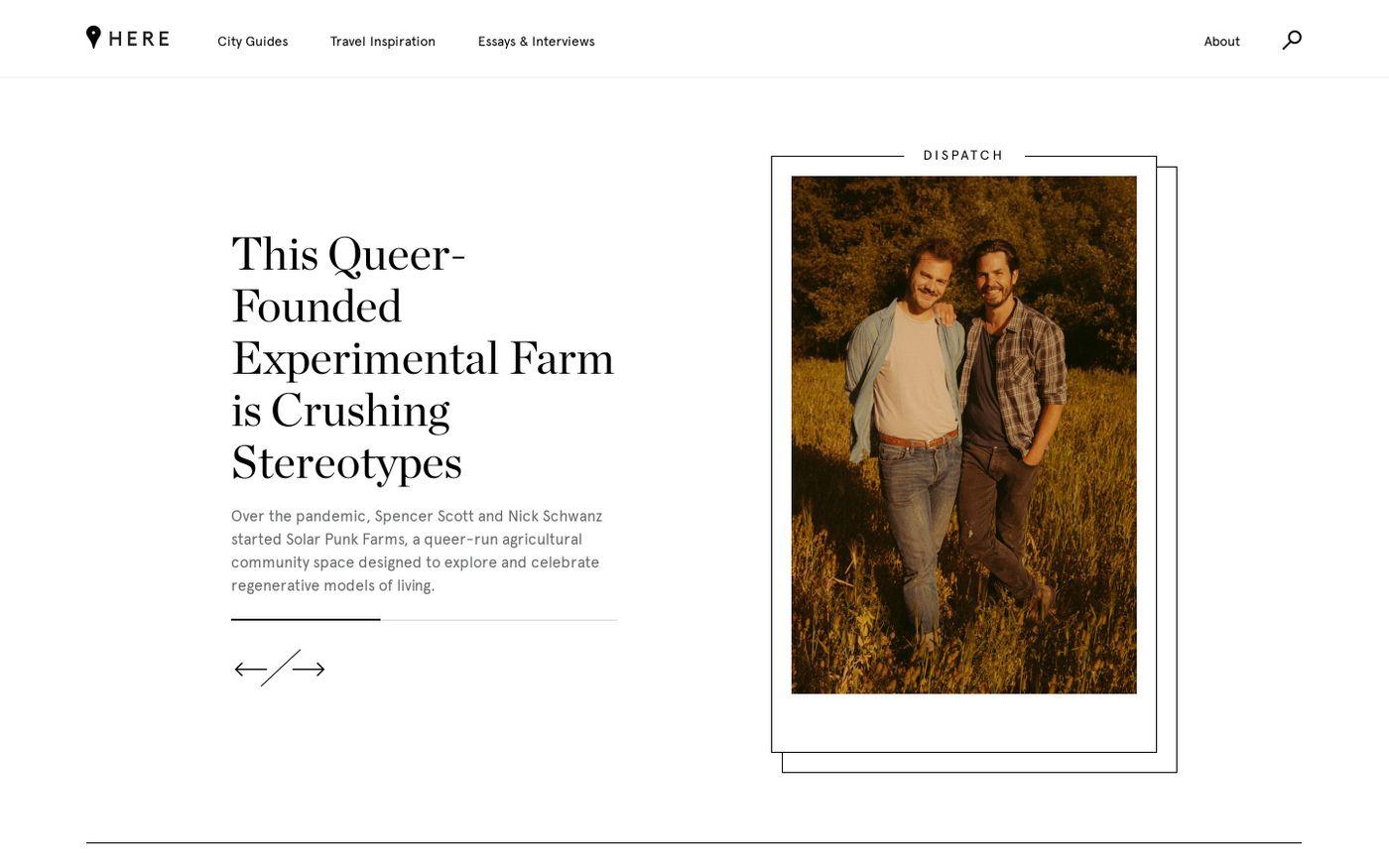 Screenshot of Here website