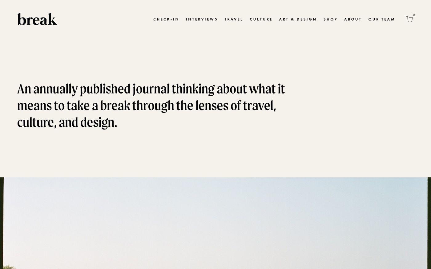 Screenshot of Break Journal website