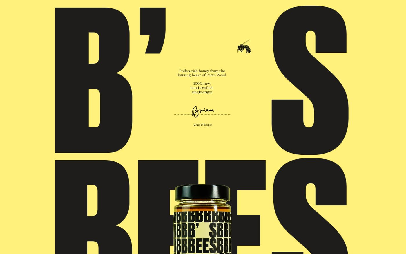 Screenshot of B's Bees website