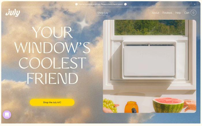 Screenshot of July website