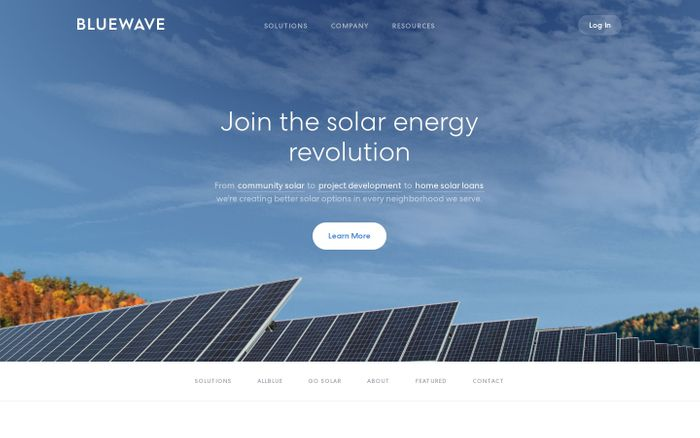 Screenshot of A Solar Energy Development & Financing Company | BlueWave Solar
