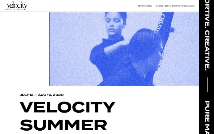 Screenshot of Velocity Dance Festivals website
