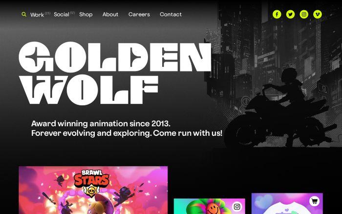 Screenshot of Golden Wolf website